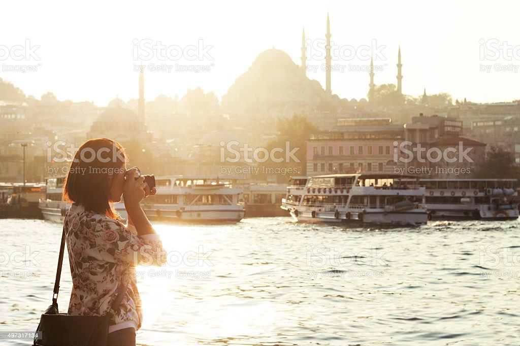 Pretty woman taking pictures in Istanbul,Turkey stock photo