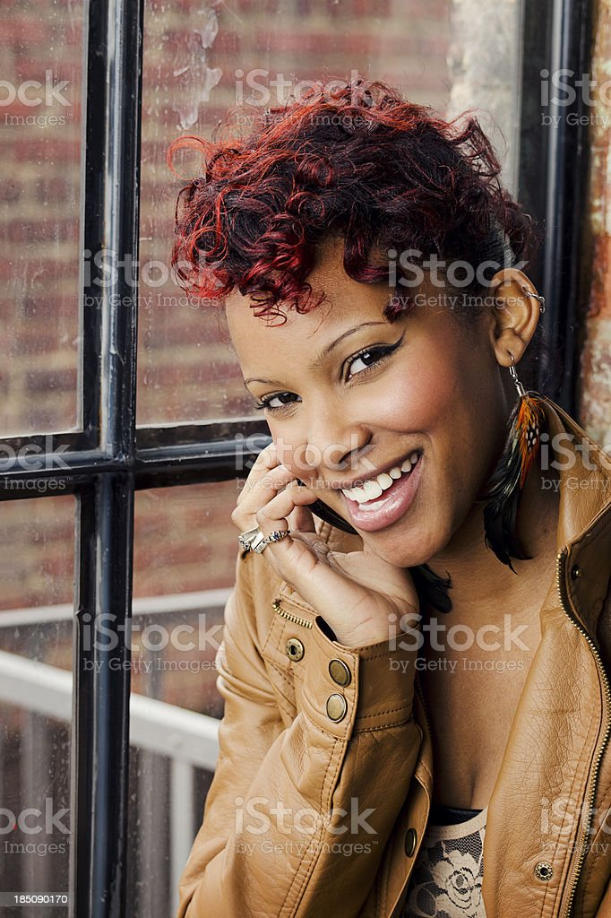 Pretty Woman Talking on a Mobile Phone stock photo