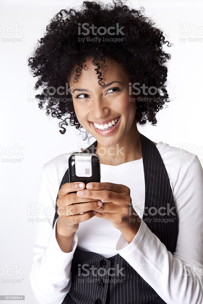 pretty woman text messaging royalty-free stock photo