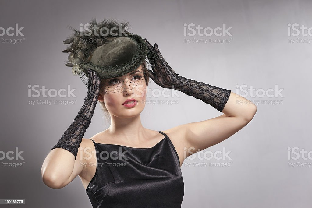 Pretty woman wearing Vintage clothes stock photo