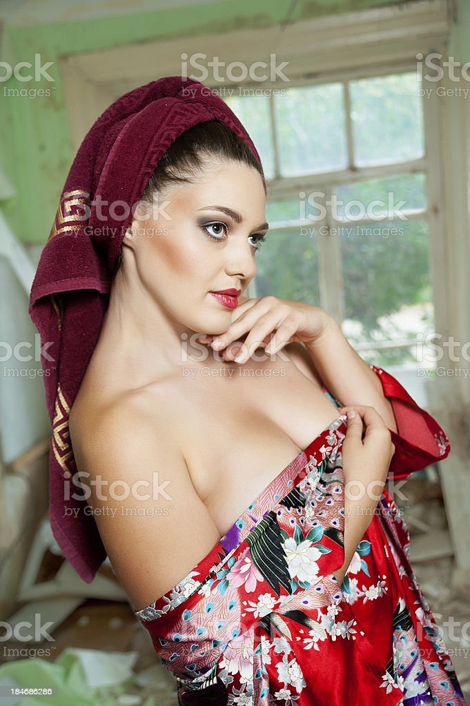 pretty woman with a towel royalty-free stock photo