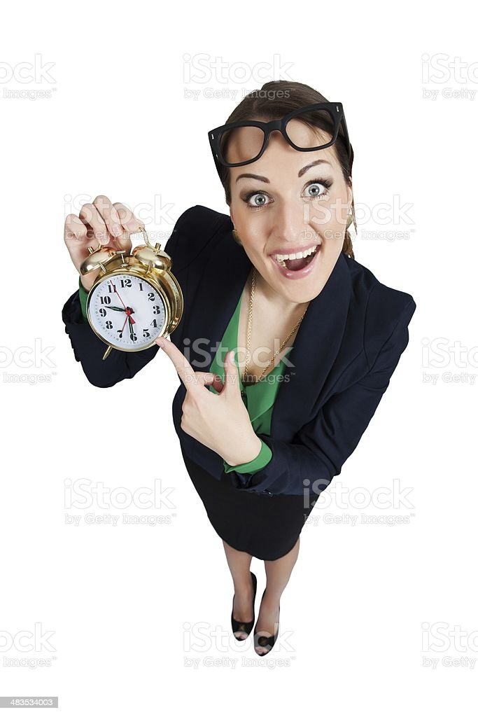 pretty woman with an alarm clock stock photo