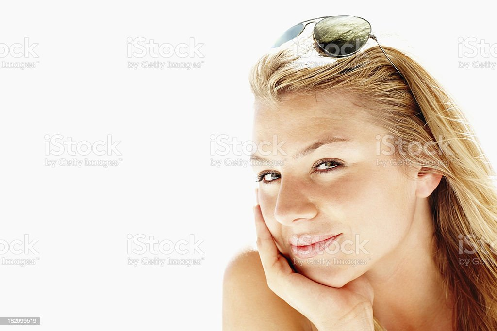 Pretty woman with aviators on a sunny day royalty-free stock photo