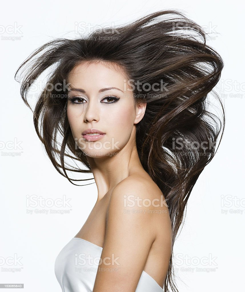 Pretty woman with beautiful long brown hairs stock photo