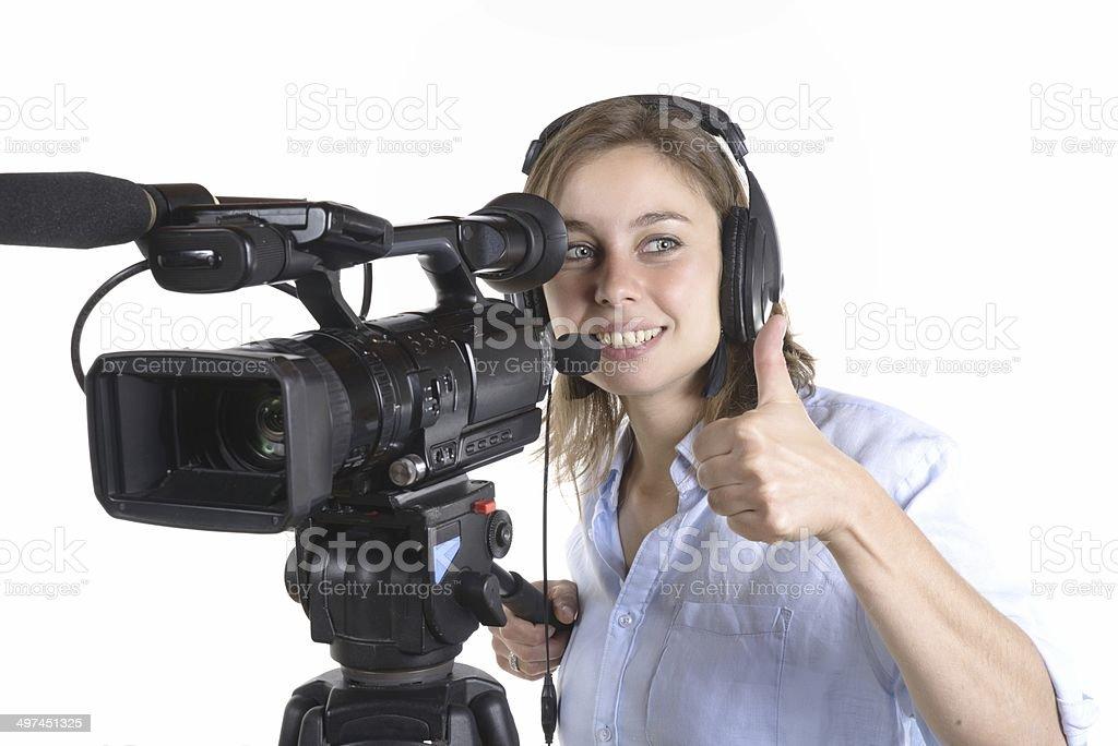 pretty woman with camera stock photo