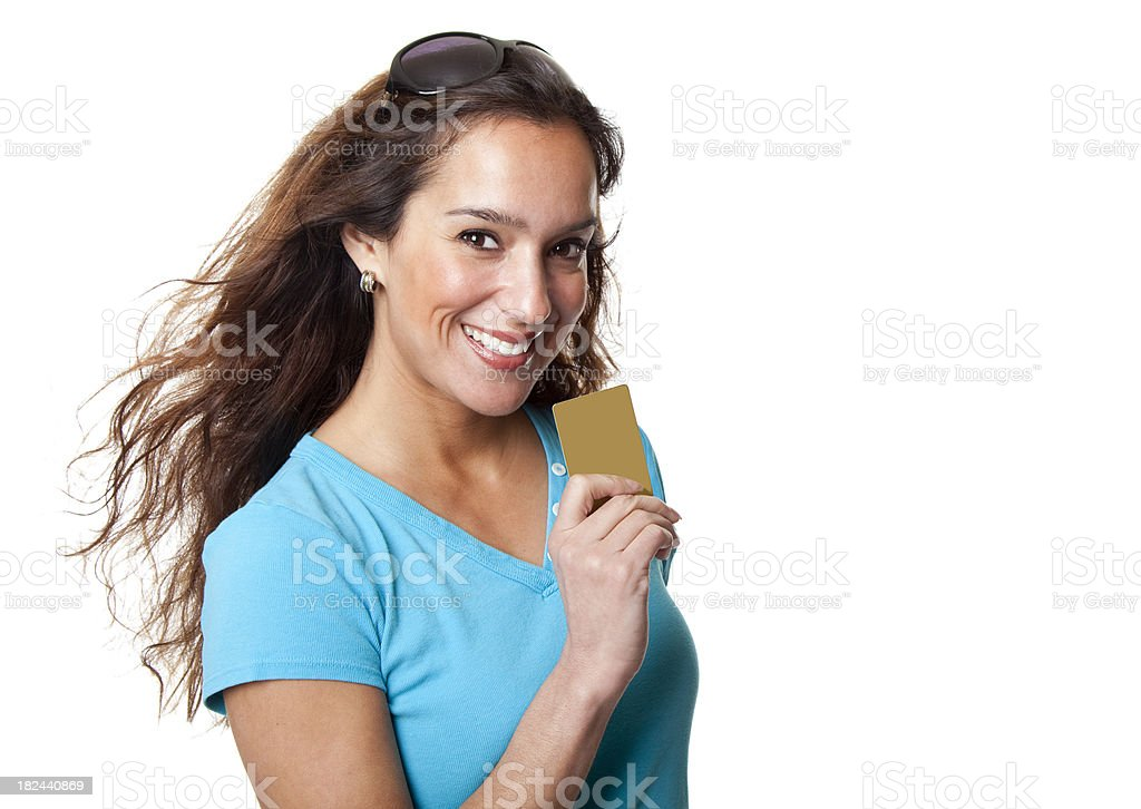 pretty woman with credit card - copy space royalty-free stock photo