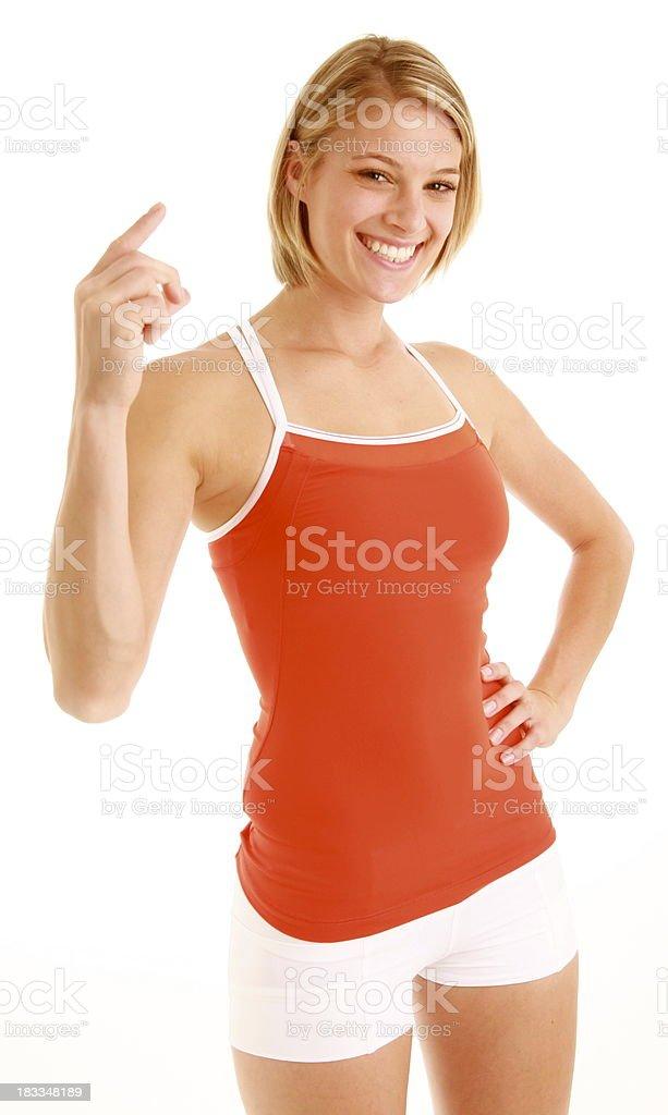 Hermosa mujer con el dedo en foto de stock libre de derechos