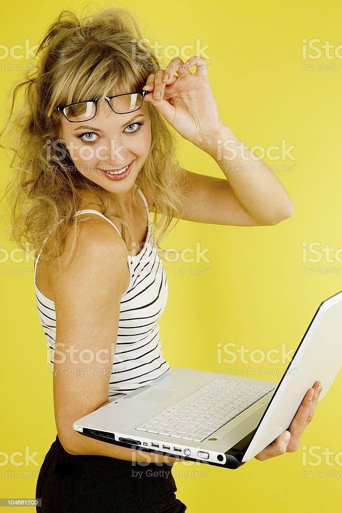 Pretty woman with laptop royalty-free stock photo