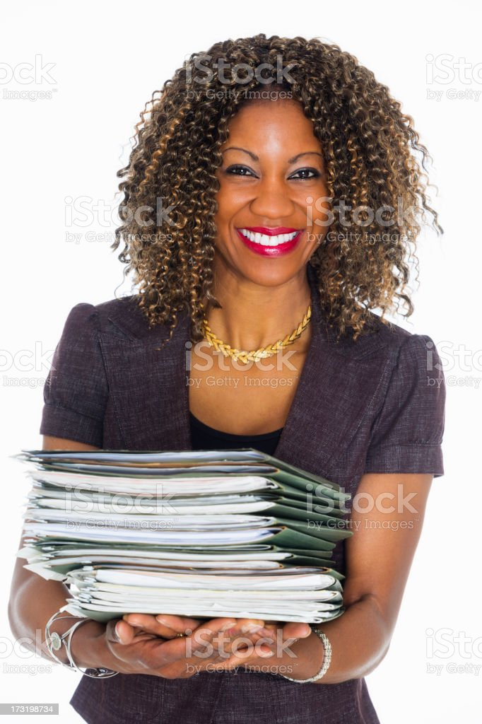 Pretty Woman with Paperwork stock photo
