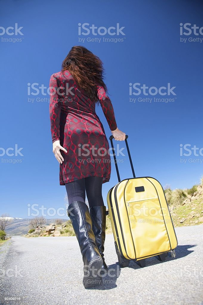 pretty woman with suitcase royalty-free stock photo