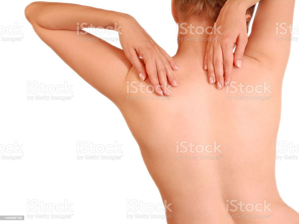 Pretty woman's naked back isolated royalty-free stock photo