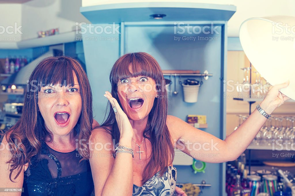 pretty women are crazy in a coffee bar stock photo