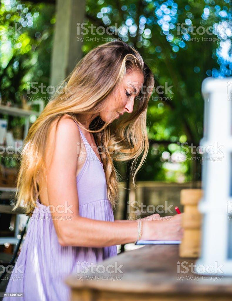 Pretty women coloring book stock photo