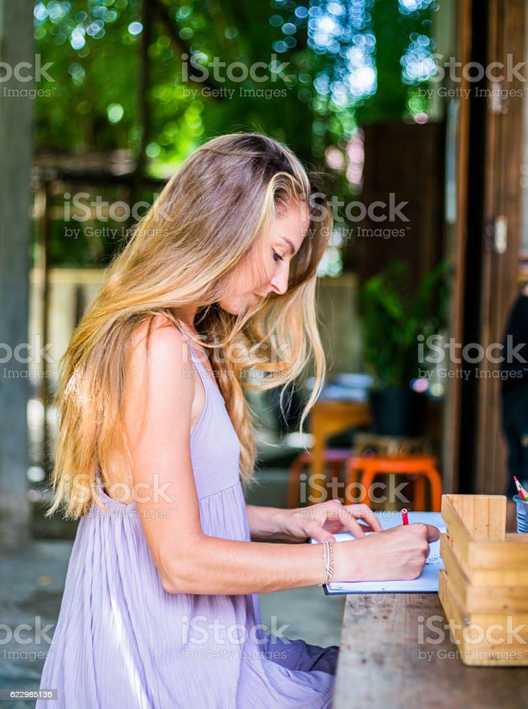 Pretty women coloring book stock photo