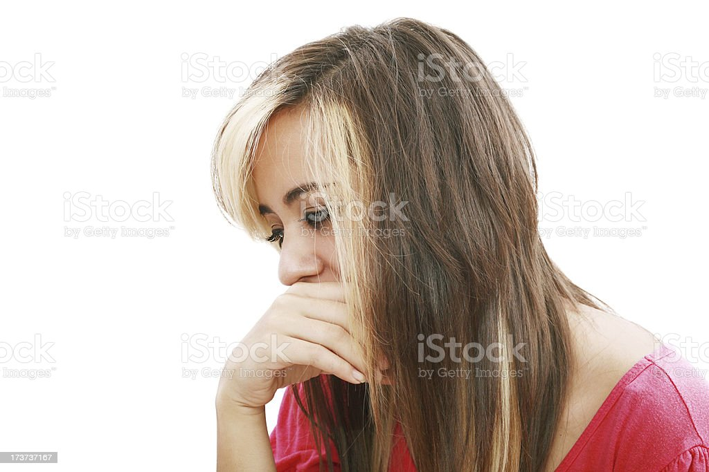 Pretty young beautiful woman with stress looks royalty-free stock photo