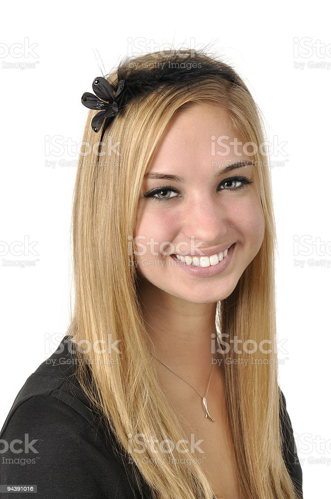 Pretty Young Blonde with Black Floral and Feathered Headband royalty-free stock photo