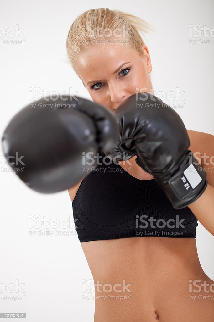 Pretty young boxing girl royalty-free stock photo