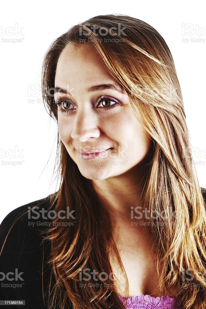 Pretty young brown-eyed blonde smiles flirtatiously stock photo