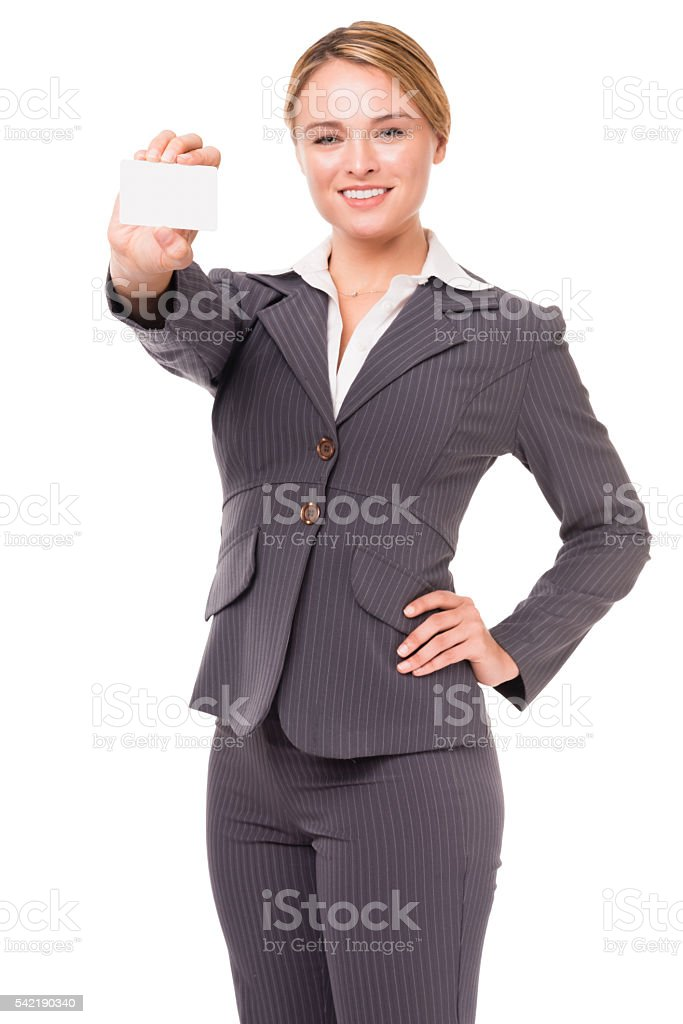 Pretty Young Businesswoman on White stock photo