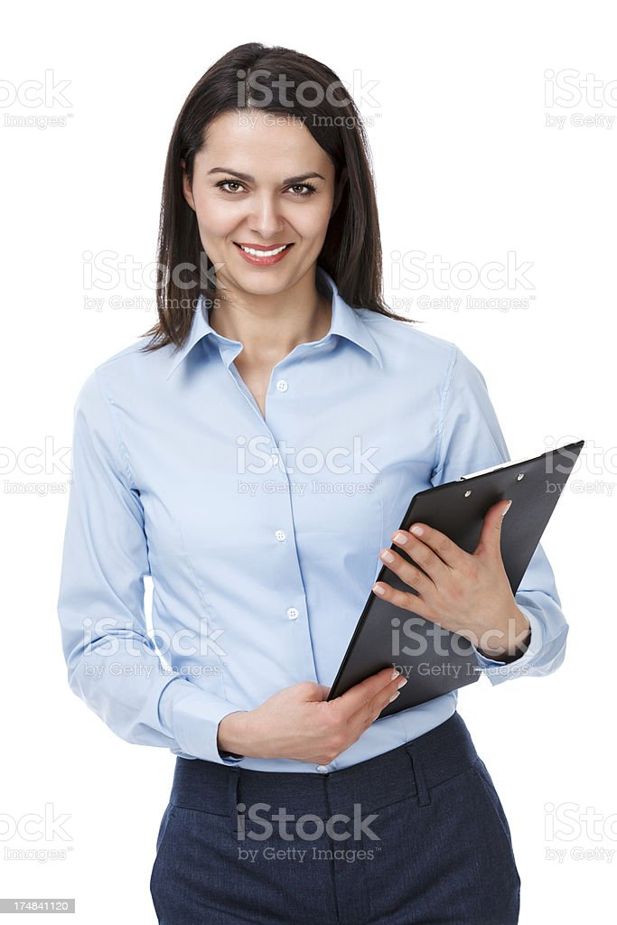 Pretty young businesswoman with clipboard royalty-free stock photo