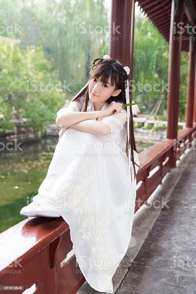 pretty young chinese girl stock photo