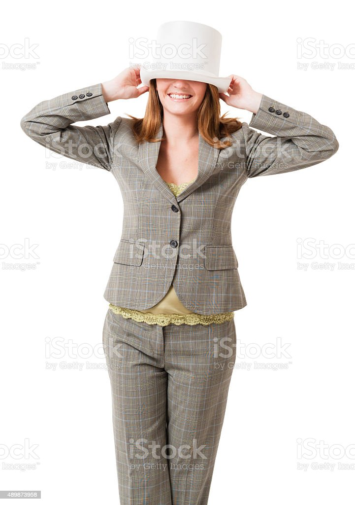 Pretty young female office worker stock photo