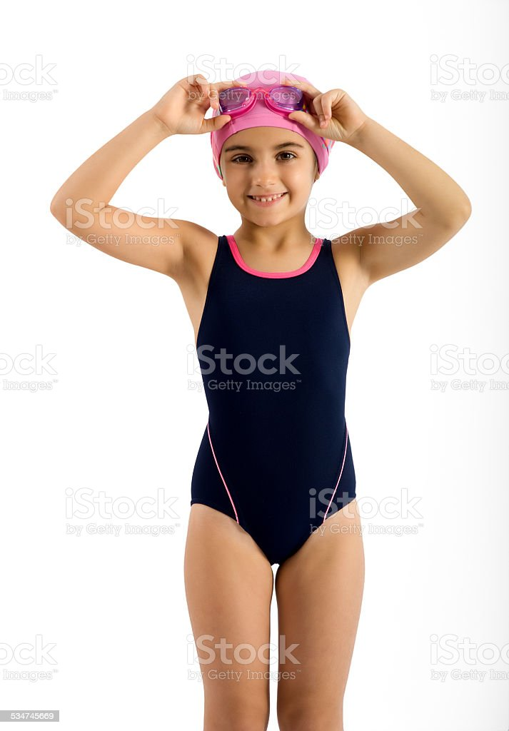 Pretty Young Girl in Swimming Fashion Outfit stock photo