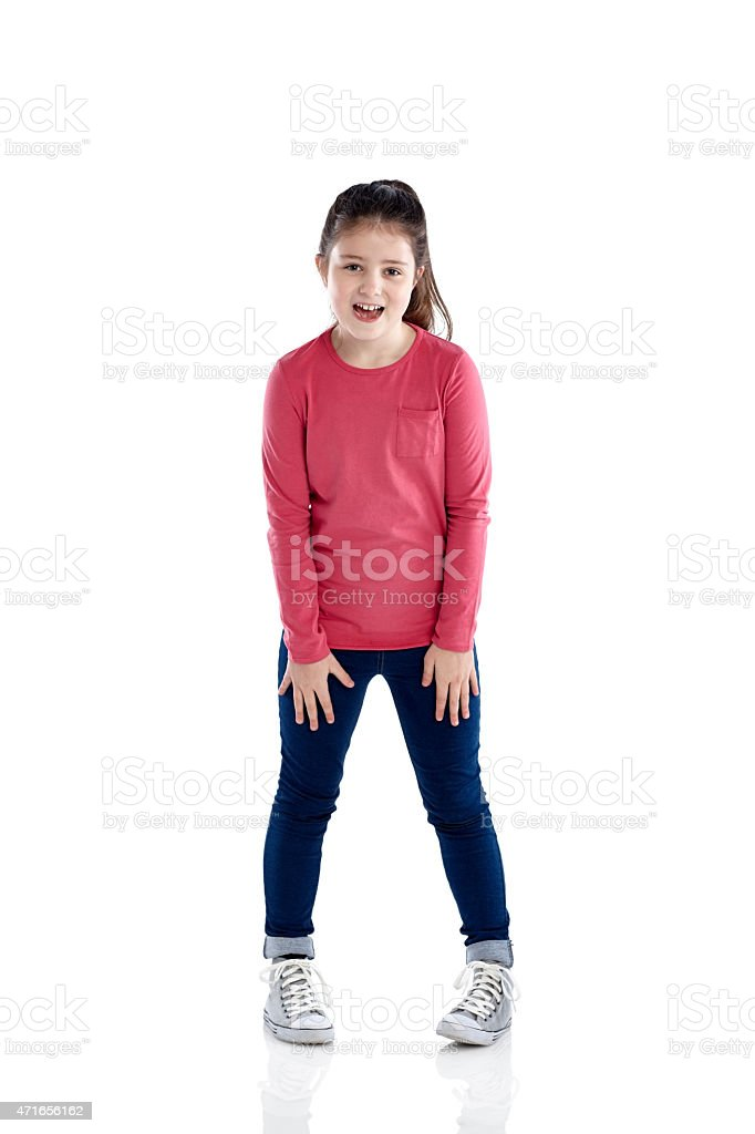 Pretty young girl laughing on white stock photo