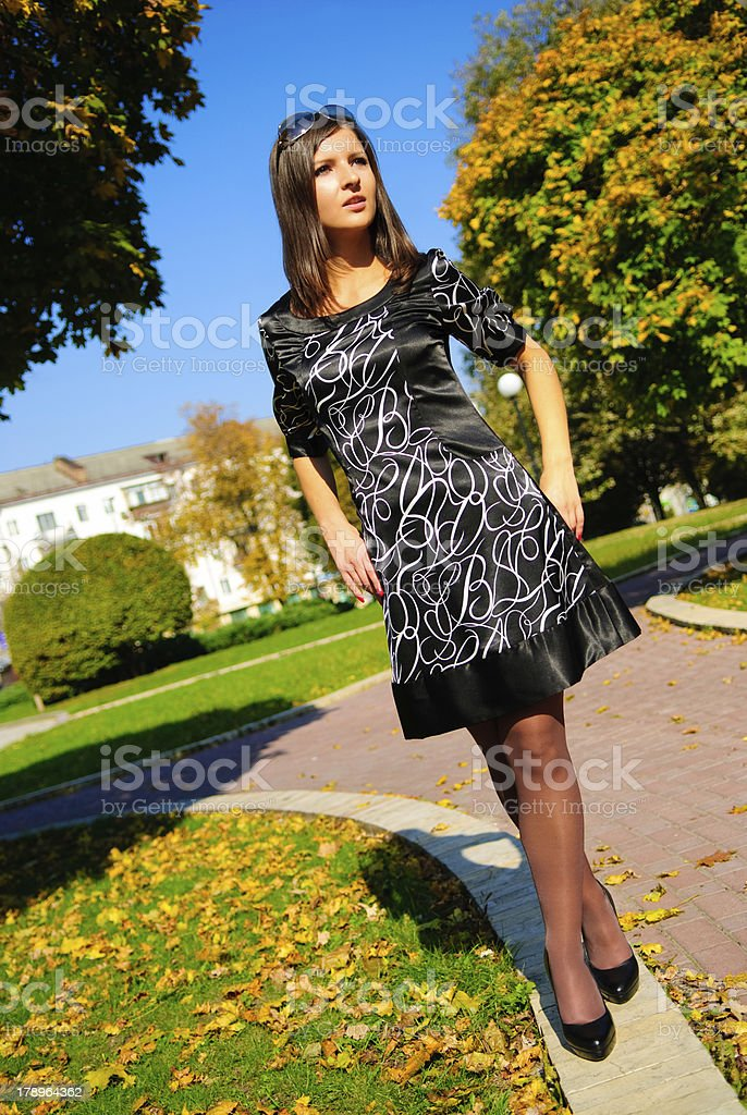 Pretty young girl on the colourful autumn background royalty-free stock photo