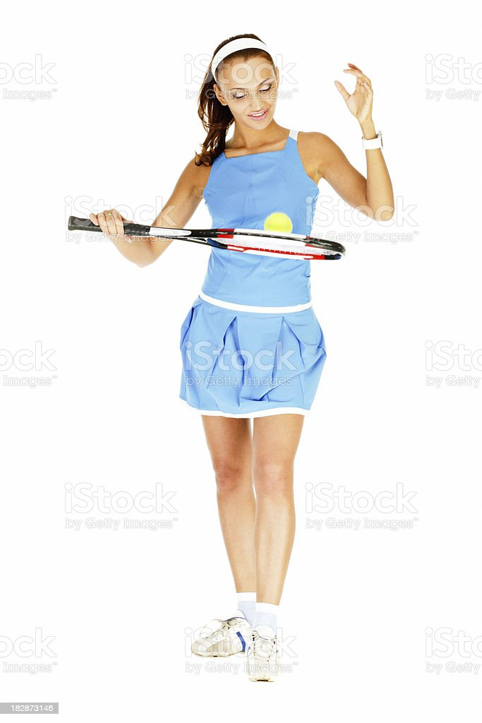 Pretty Young Girl Playing Tennis on white Background royalty-free stock photo