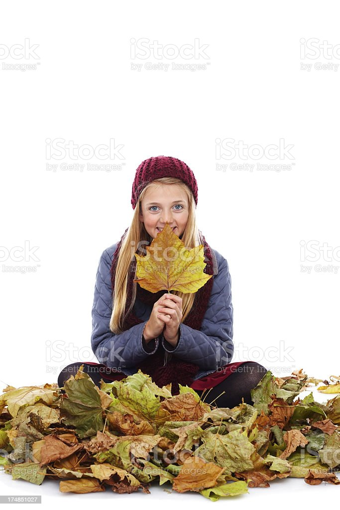 Pretty young girl sitting on autumn leaves royalty-free stock photo