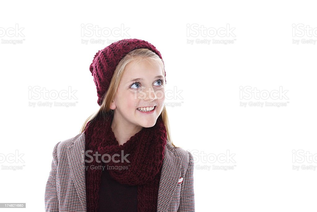 Pretty young girl smiling at copyspace royalty-free stock photo