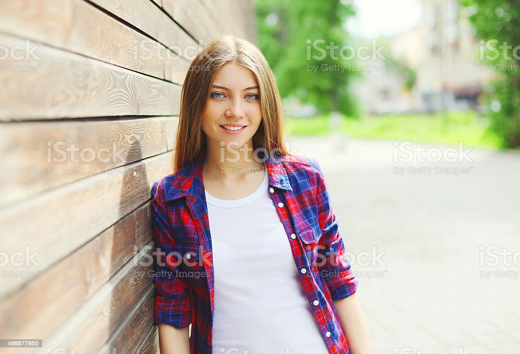 Pretty young girl wearing a casual clothes in summer day stock photo