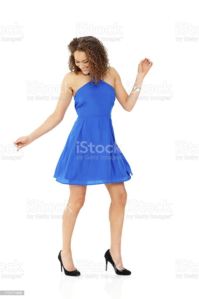 Pretty young lady enjoying herself on white royalty-free stock photo