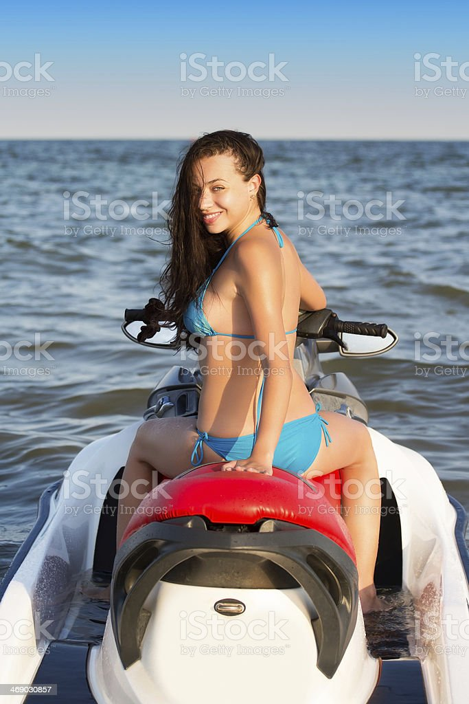 Pretty young smiling lady stock photo