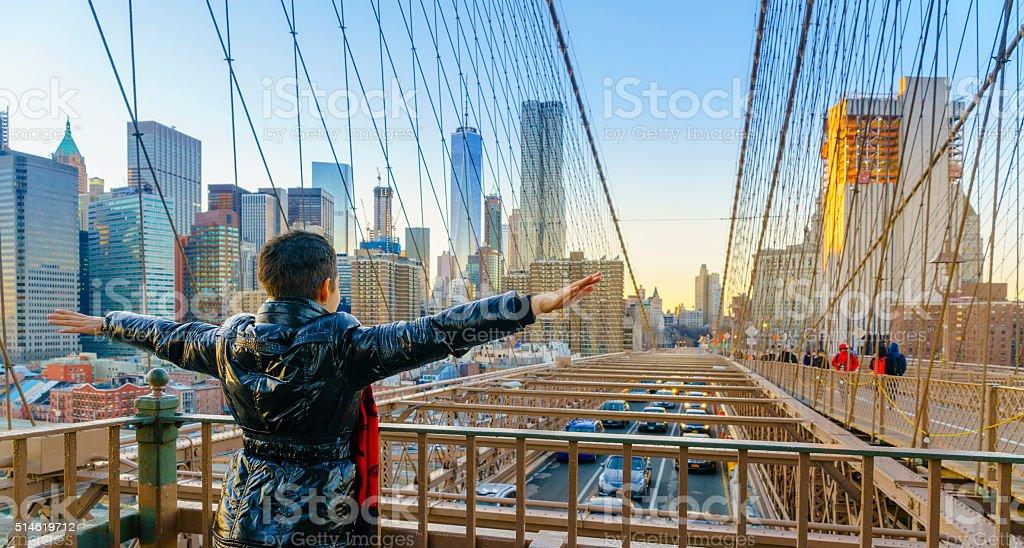 Pretty young woman at the Brighton Bridge, New York City stock photo