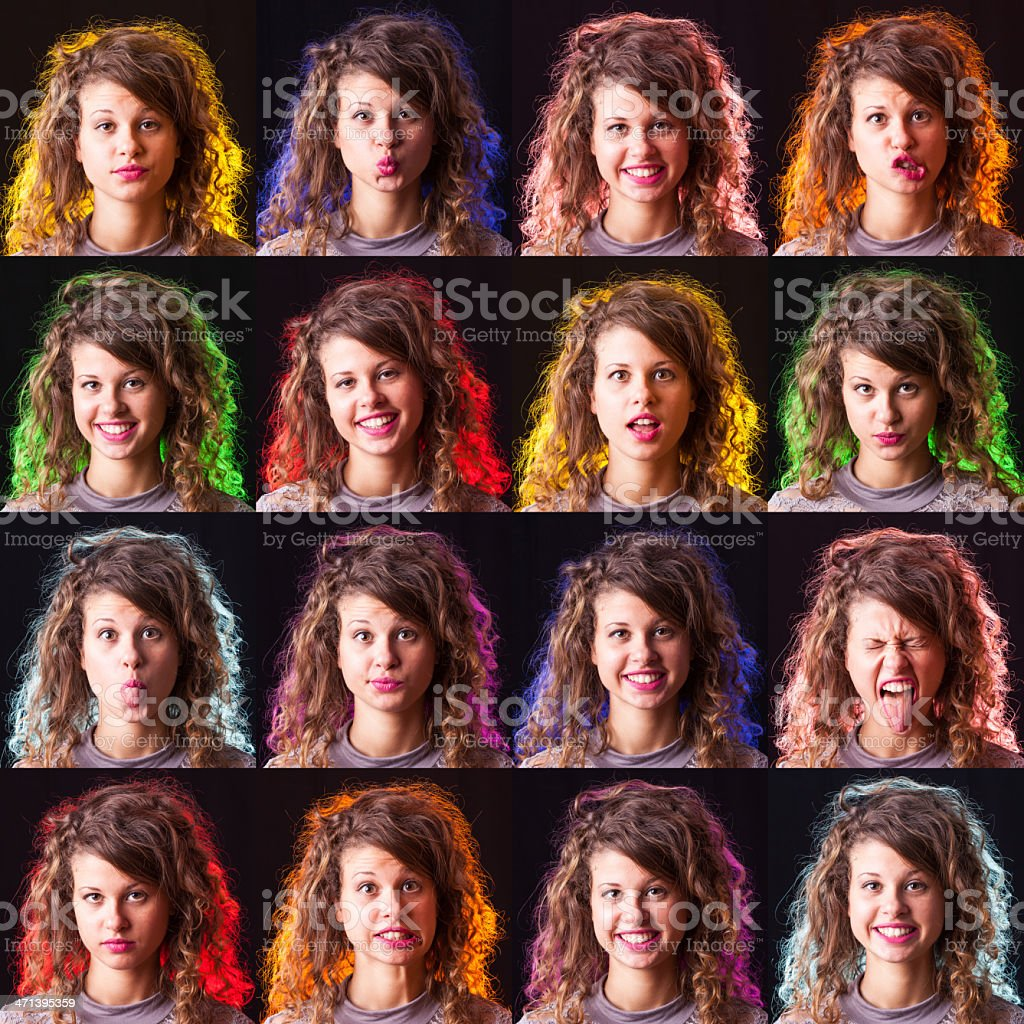 Pretty Young Woman Collection of Expressions on Black royalty-free stock photo