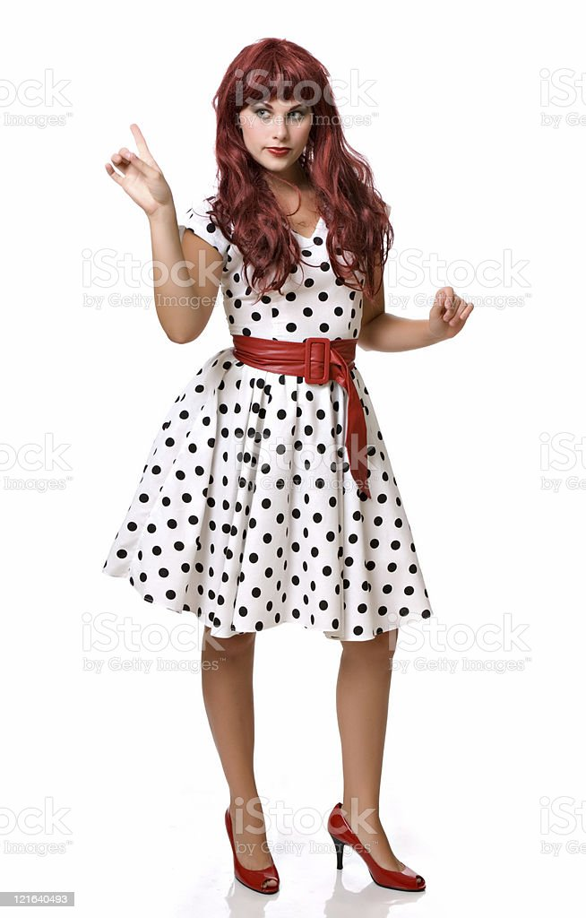 Pretty young woman in a wig and costume stock photo