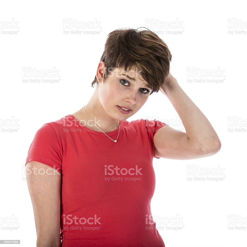 Pretty young woman is confused royalty-free stock photo