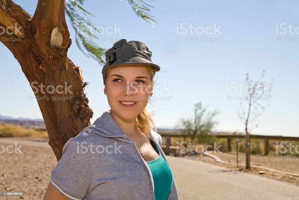 Pretty Young Woman outdoors stock photo