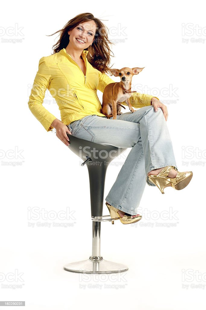 Pretty Young Woman sitting with her lovely chihuahua royalty-free stock photo