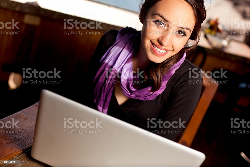 Pretty Young Woman with Laptop royalty-free stock photo