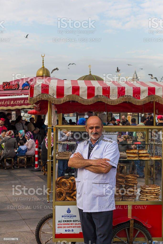 Pretzel and Bread Seller stock photo