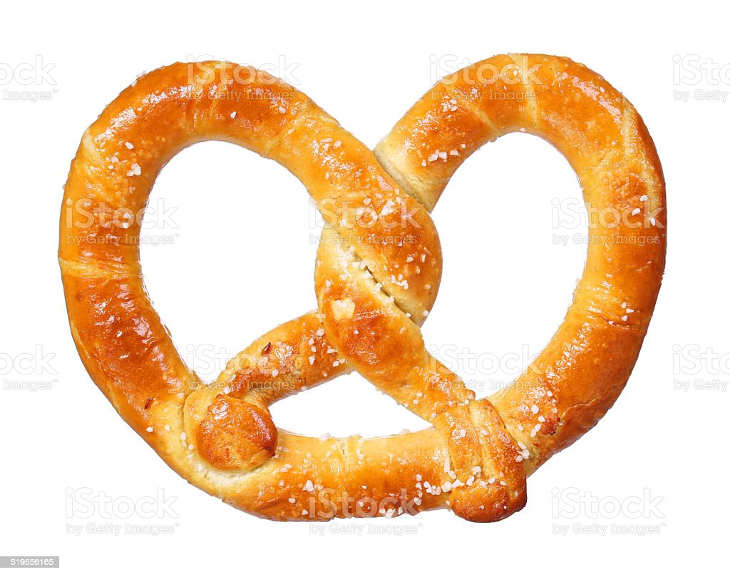 pretzel isolated on white background. salt and soft stock photo