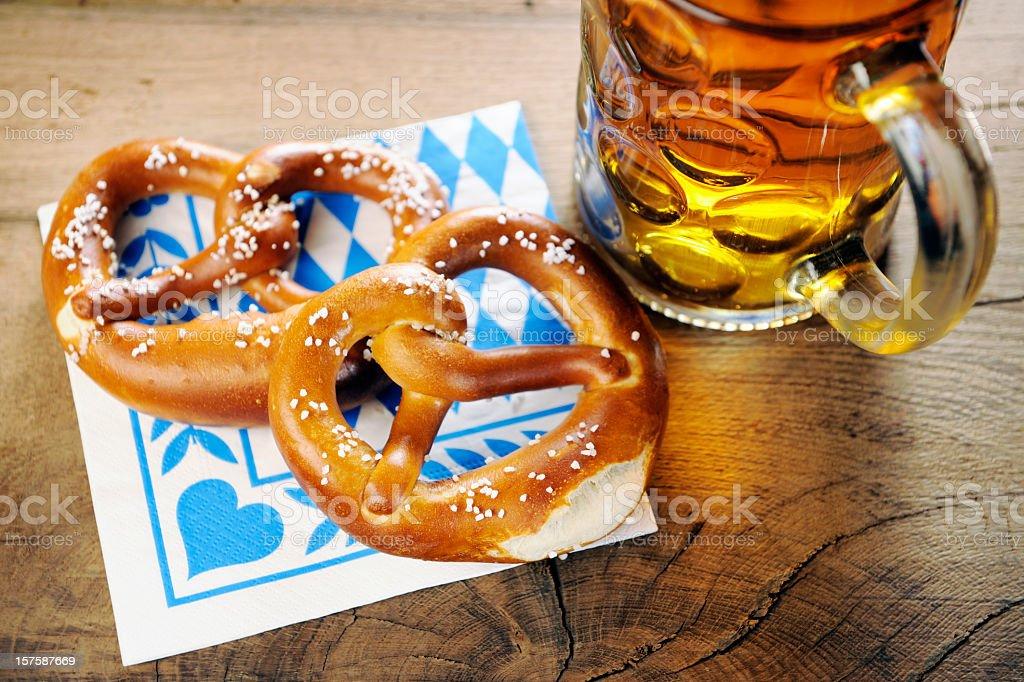 Pretzel on bavarian napkin royalty-free stock photo