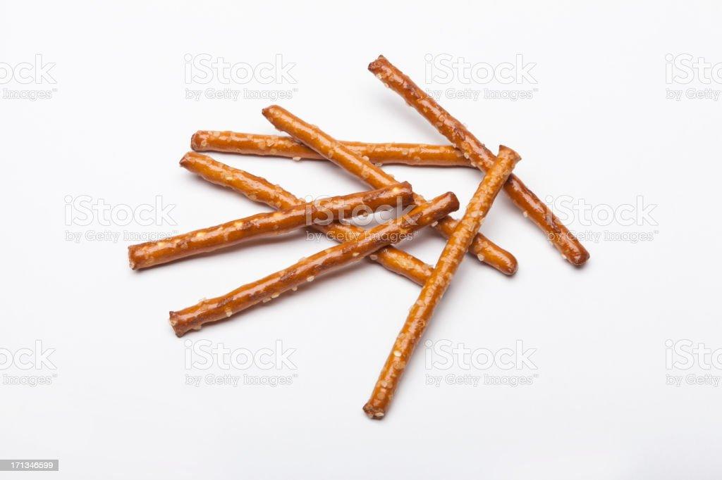 Pretzel sticks on white stock photo