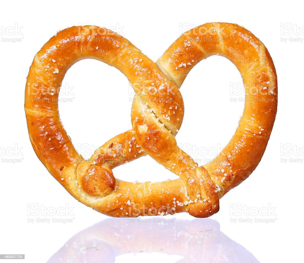 pretzel with shadow isolated on white background stock photo