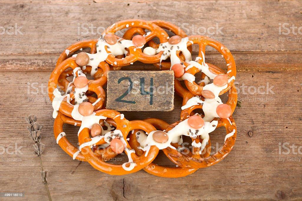 Pretzel wreath stock photo