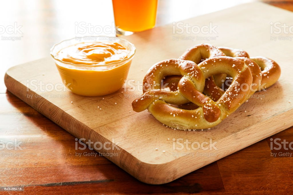 Pretzels and Cheese stock photo