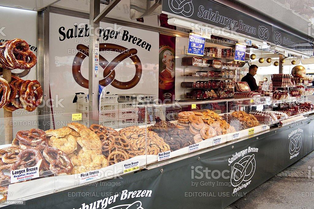 Pretzels and Mozartkugel candies in Salzburg royalty-free stock photo